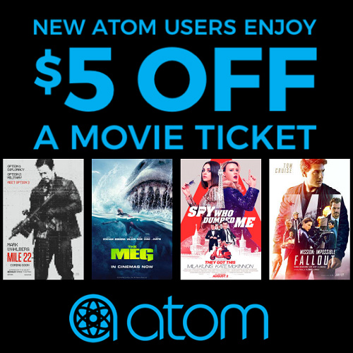 Atom Tickets Coupon : $5 off Your First Movie Ticket Purchase
