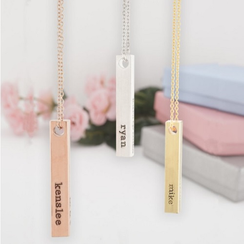 54% off Engraved 4-Sided Bar Necklace : Only $13.99