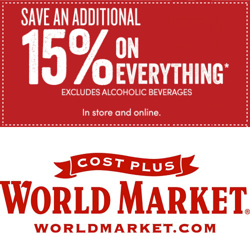 Cost Plus World Market : 15% off Coupon In-Store or Online