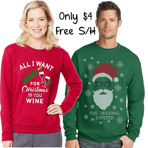 80% off Ugly Christmas Sweatshirts : 2 for $8 + Free S/H