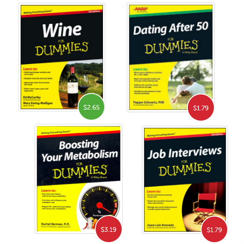"Up to 95% off + 10% off ""For Dummies"" Books : Prices start at $1.19 before coupon"