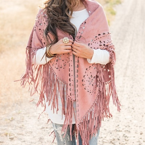 71% off Faux Suede Fringe Shawl : Only $17.99
