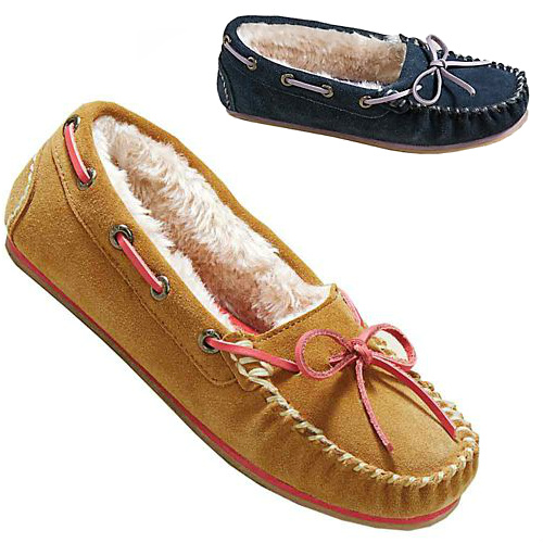Women's Fleece-lined Suede Moccasins : $6.73 + Free S/H