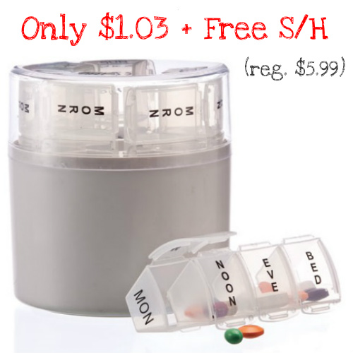 82% off Weekly Pill Holder : $1.03 + Free S/H