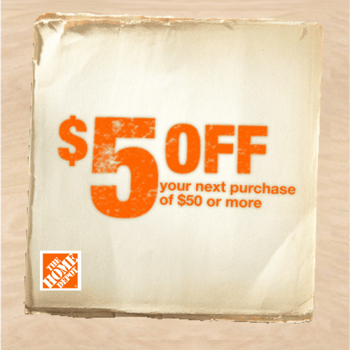 Home Depot Coupon : $5 off $50 In-store