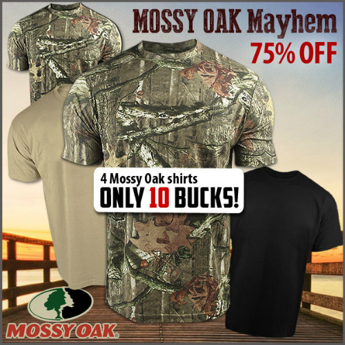 75% off 4-PK of Men's Mossy Oak T-Shirts : Only $10 + Free S/H