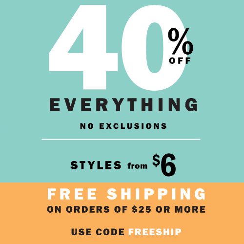 Old Navy : Extra 40% off Everything + Free S/H on $25