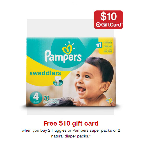 Target : Free $10 Gift Card + Free S/H when you buy 2 Packs of Diapers