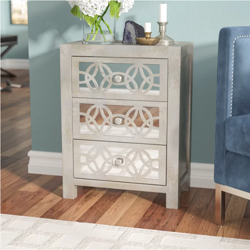 65% off Mirrored 3 Drawer Accent Chest : $151.99 + Free S/H