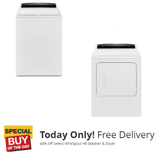 44% off Whirlpool HE Washer & Dryer : $448 each + Free Delivery