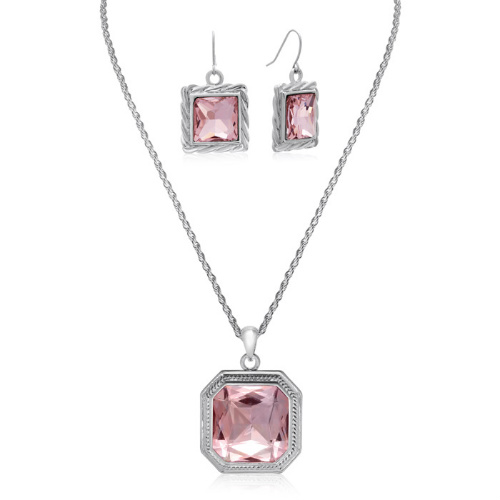 88% off Crystal Pink Topaz Necklace & Earrings Set : Only $5.99 + Free S/H