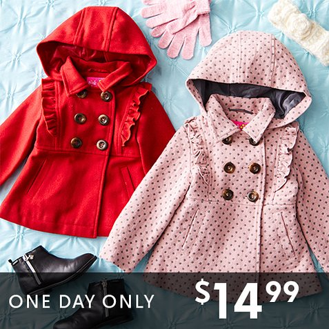 Up to 77% off Little Girls' Ruffle Trim Coats : Only $14.99