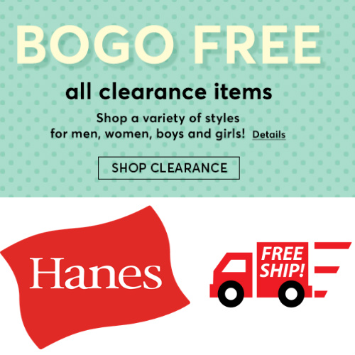 Hanes Clearance : Buy 1, Get 1 Free + Free S/H