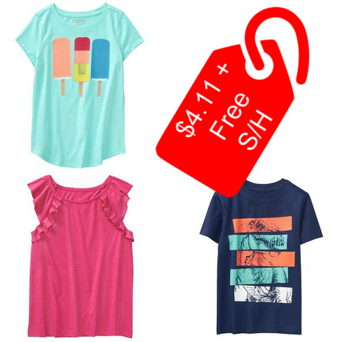 62% off Baby & Kids' Tees & Tanks : Only $4.11 + Free S/H