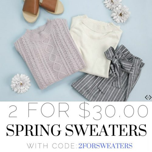 Up to 77% off Women's Spring Sweaters : 2 for $30 + Free S/H