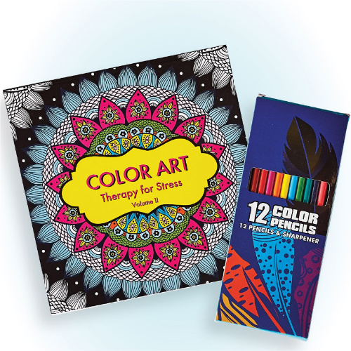 76% off Adult Coloring Book & Pencil Set : Only $2.38 + Free S/H