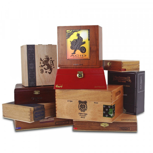 Set of 10 Empty Wooden Cigar Boxes : Only $19.99 + Free S/H