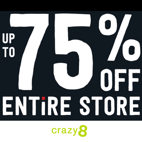 Crazy8 : Up to 75% off Everything + Free S/H