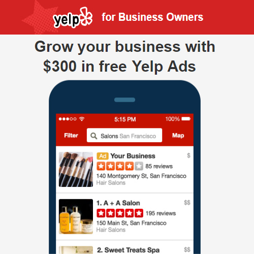Yelp for Business Owners : $300 in Free Yelp Ads
