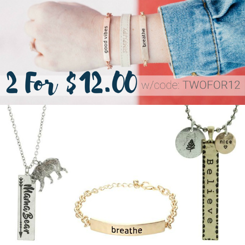 Up to 76% off Inspirational Jewelry : 2 for $12 + Free S/H