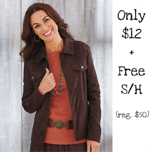 76% off Women's Microsuede Pintuck Jacket : Only $11.98 + Free S/H