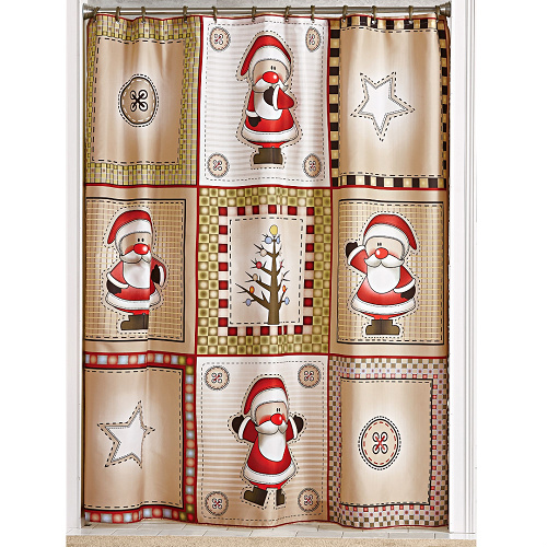 68% off Santa Shower Curtain Set : Only $7.98 + Free S/H