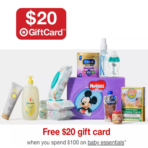 Target : Free $20 Gift Card with $100 Baby Care order