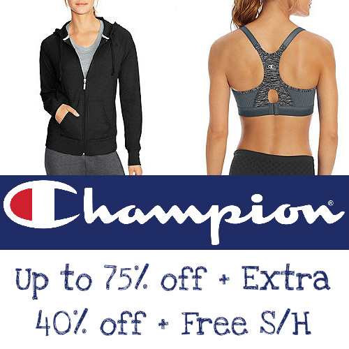 Champion : Up to 75% off + Extra 40% off + Free S/H