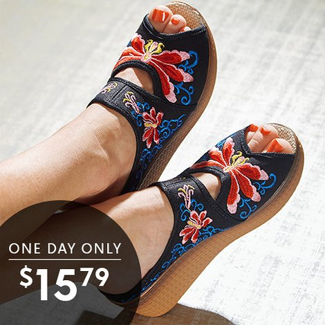 Up to 79% off Women's Embroidered Sandals and Mules : Only $15.79