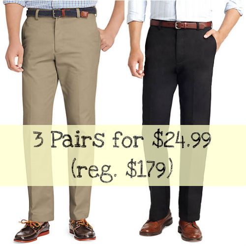 86% off Men's Izod Wrinkle-Free Straight Fit Chino Pants : 3 for $24.99