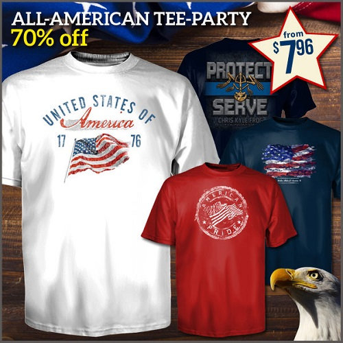 Up to 68% off Men's & Women's Patriotic Tees : Only $7.96 + Free S/H