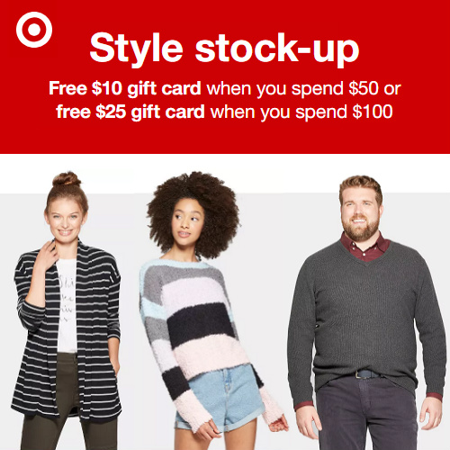 Target Clothing, Shoes & Accessories Deal : Free $10 or $25 Gift Card + Free S/H