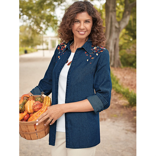 80% off Women's Fall Leaves Embroidered Denim Shirt & Tank Set : Only $7.98 + Free S/H