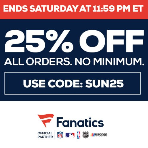 Fanatics : 25% off Regular Price items