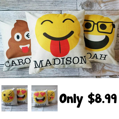 82% off Personalized Emoji Pillows : Only $8.99