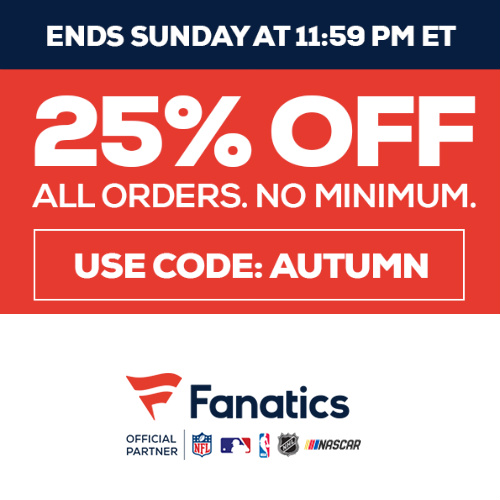 Fanatics Coupon : 25% off Regular Price items