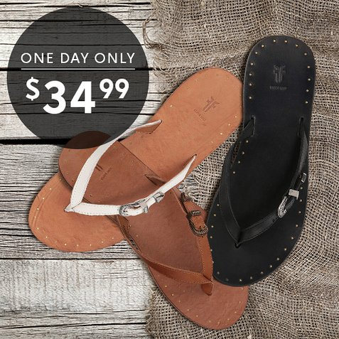64% off Women's Frye Leather Flip-Flops : Only $34.99