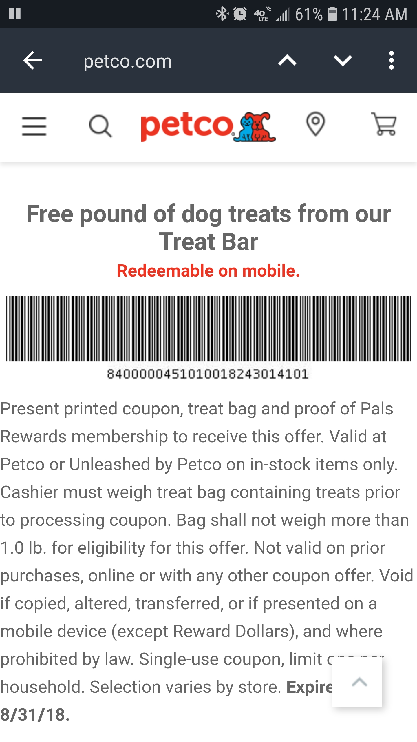 Petco In-Store Coupon : 1-LB of Free Dog Treats