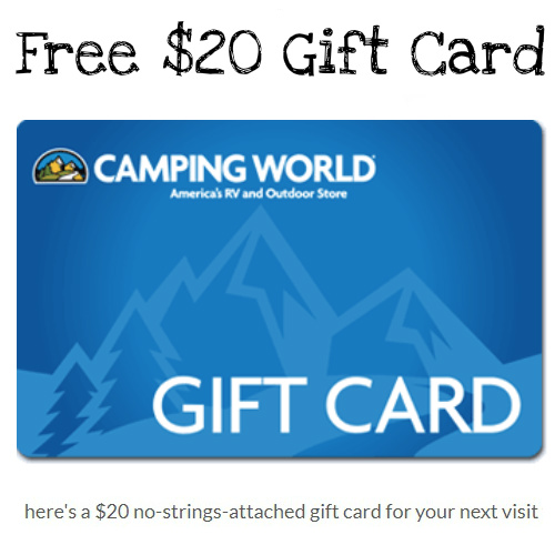 Camping World : Free $20 Gift Card