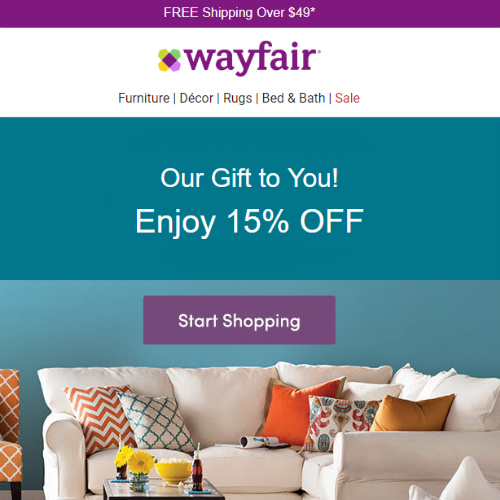 Wayfair 15% off Coupon : Register For One Today!