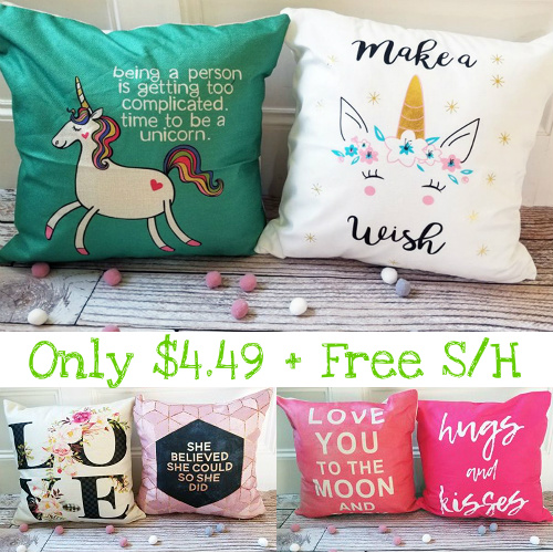 85% off Inspirational Pillow Covers : Only $4.49 + Free S/H