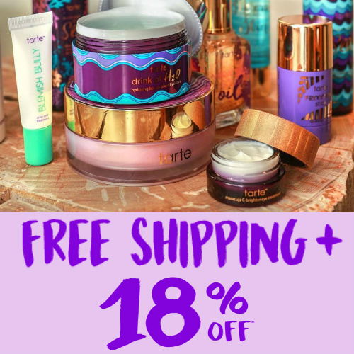 Tarte Cosmetics Coupon : Extra 18% off + Free S/H on any order