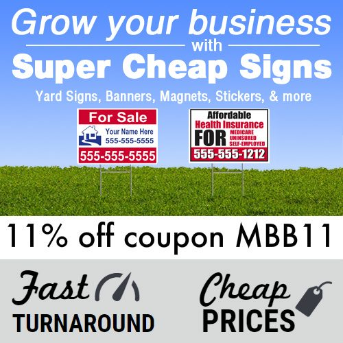 Super Cheap Signs Coupon : 11% off any order