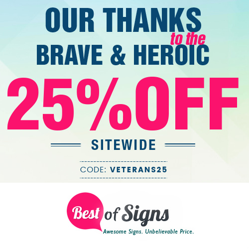 Best of Signs Coupon : 25% off any order