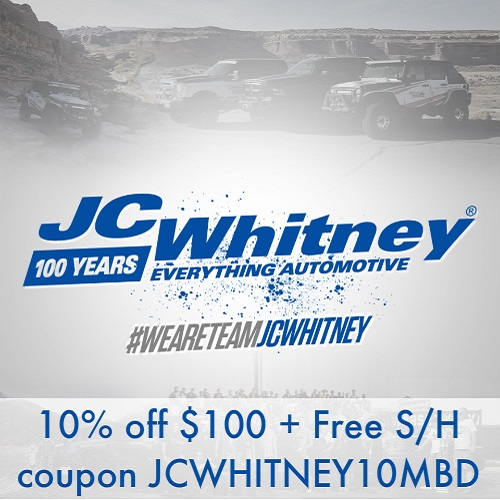 JC Whitney Coupon : 10% off $100 or more + Free S/H