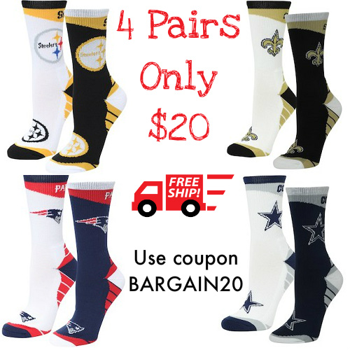 55% off 2-PK of Women's NFL Socks : 2 for $19.98 + Free S/H