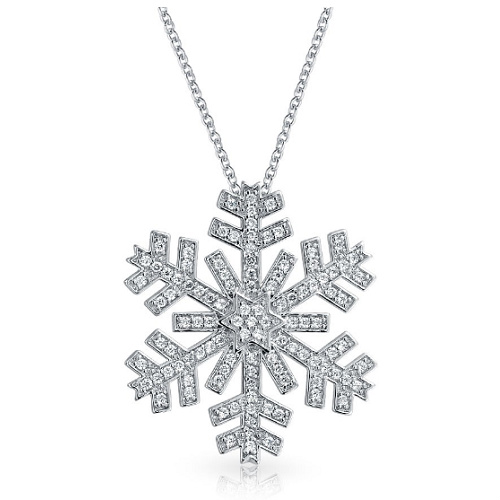 58% off Snowflake CZ Pendant Necklace : Only $16.99 + Free S/H