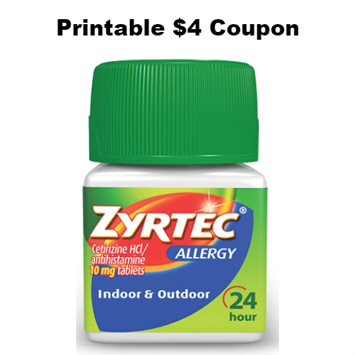 picture about Zyrtec Coupon Printable identified as Zyrtec : Printable $4 Coupon