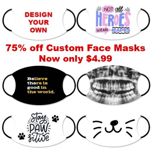 custom face mask clearance