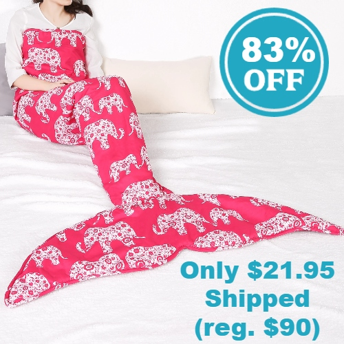 Sherpa-Lined Mermaid Tail Throw Blanket